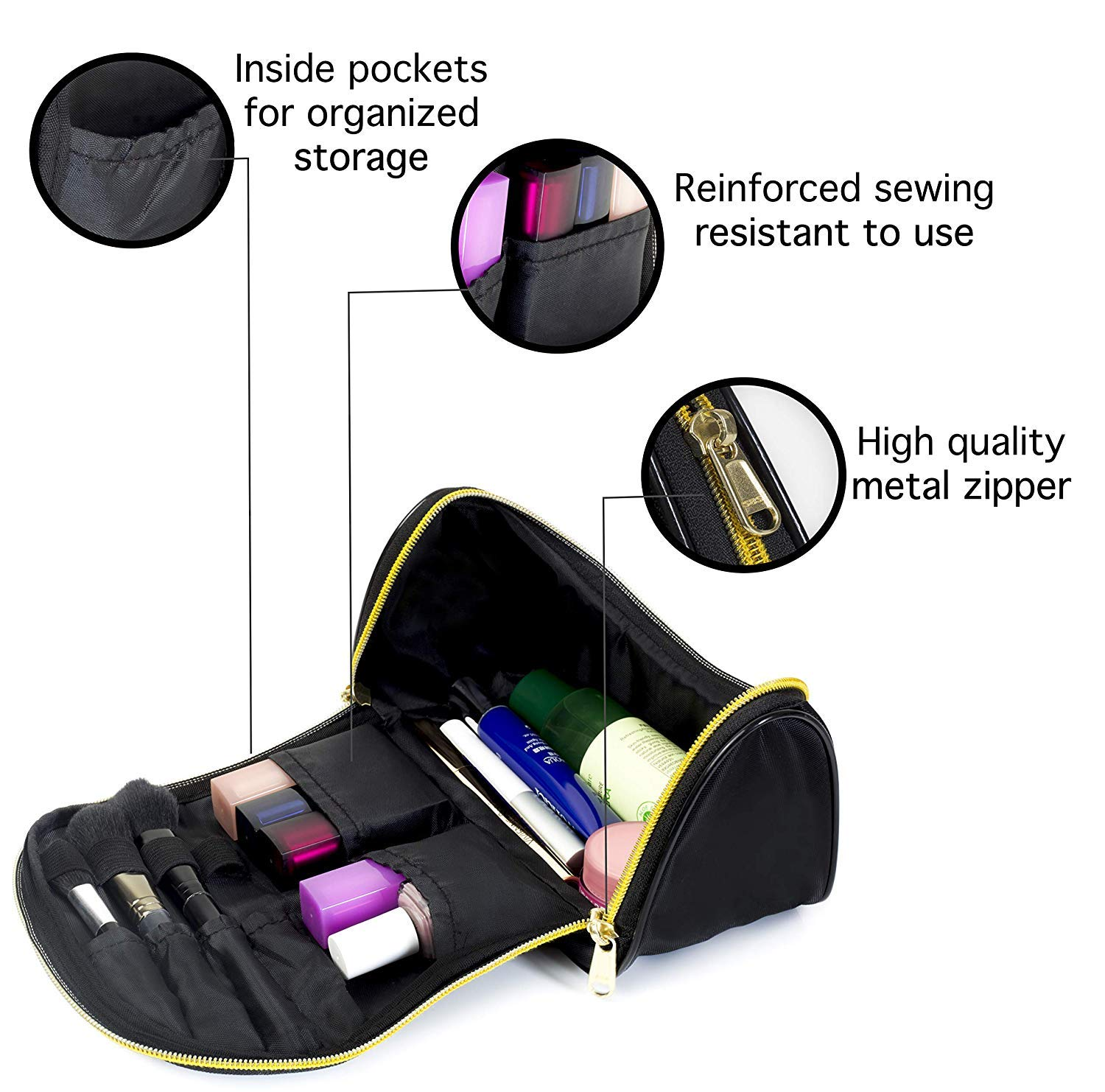 Makeup Bag Travel Cosmetic Organizer - Small, Black