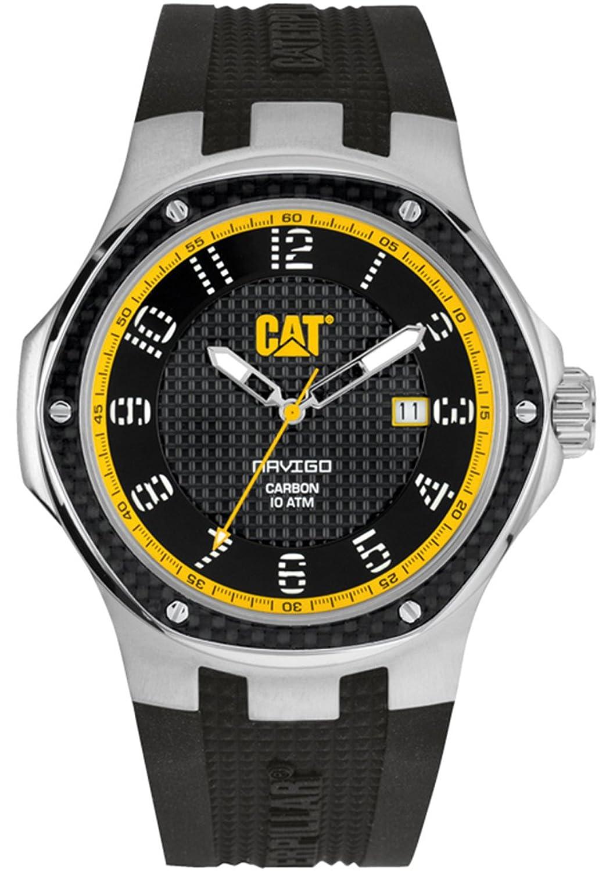 Men'Cat Navigo Carbon-Datum Herren Quarzuhr mit schwarzem Zifferblatt Analog-Anzeige und Schwarz-Silikon-BÜgel A