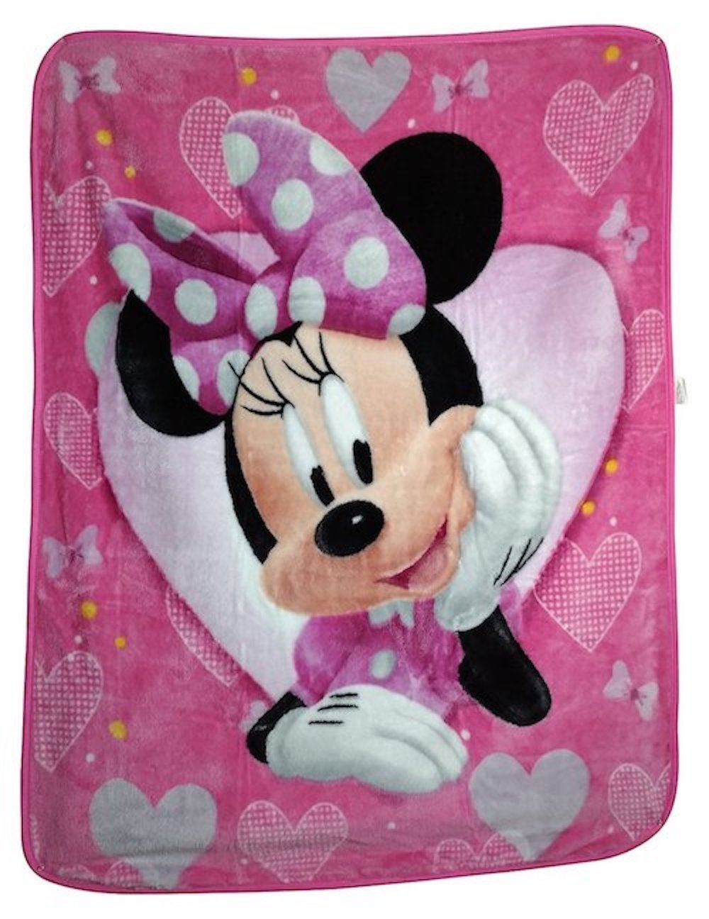 Disney Minnie Mouse Hearts and Bows Plush Style Blanket, Measures 40 by 50 inches