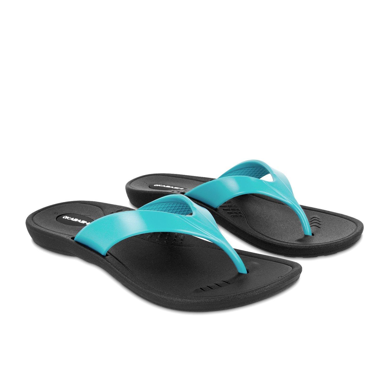 Okabashi Marina Women Open Toe Synthetic Silver Thong Sandal (Medium Large/8.0-9.0 B(M) US, Black/Sea Glass)