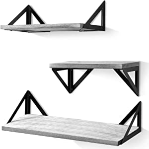 BAYKA Floating Shelves Wall Mounted, Rustic Wood Wall Shelves Set of 3 for Bedroom, Bathroom, Living Room, Kitchen Gray