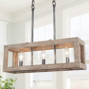 Kitchen Light fixtures, New Modern Farmhouse Chandelier, 3-Light Rectangle Chandelier with Brown Wood