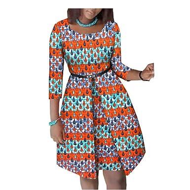 8e2d6c5a82e African Dresses for Women Flower Floral Fashion Culture Vintage 100% Cotton  Party NO Belt 183