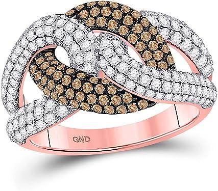 anillo de oro rosa con diamantes marrones y blancos en forma de nudo