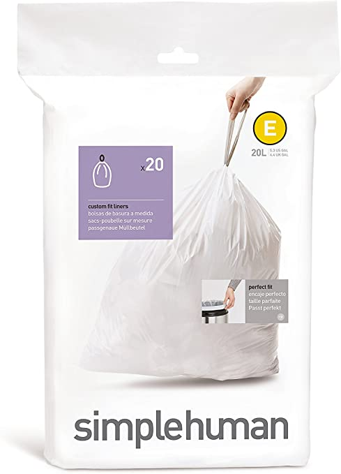 simplehuman code E Custom Fit Drawstring Trash Bags, 20 L / 5.3 Gallon, 1 Refill Pack (20 Count)