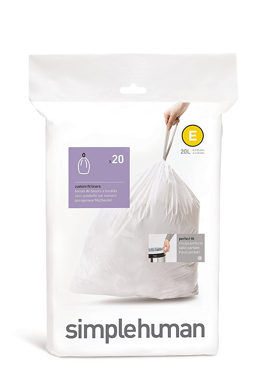 Simplehuman Code E Custom Fit Drawstring Trash Bags, 20 L