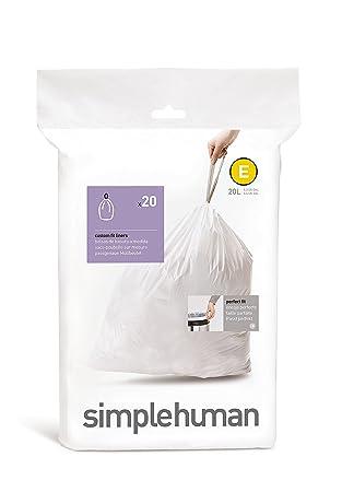 simplehuman CW0164 - Bolsas para cubo de basura, 20 l, color blanco: Amazon.es: Hogar