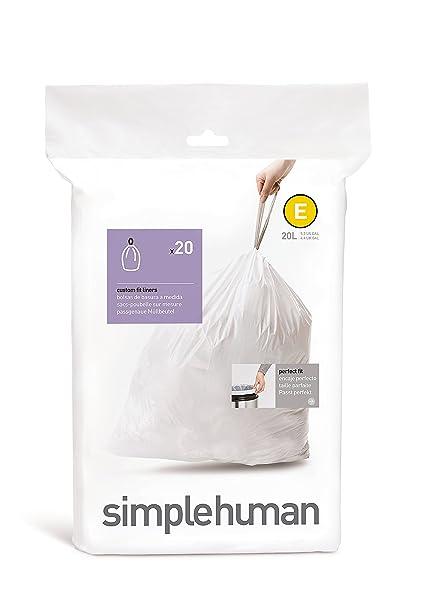 simplehuman code E Custom Fit Drawstring Trash Bags, 20 L / 5 3 Gallon, 1  Refill Pack (20 Count)