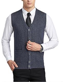 ouxiuli Mens Knit Sweater Vest Casual V-Neck Solid Basic Waistcoat Vest