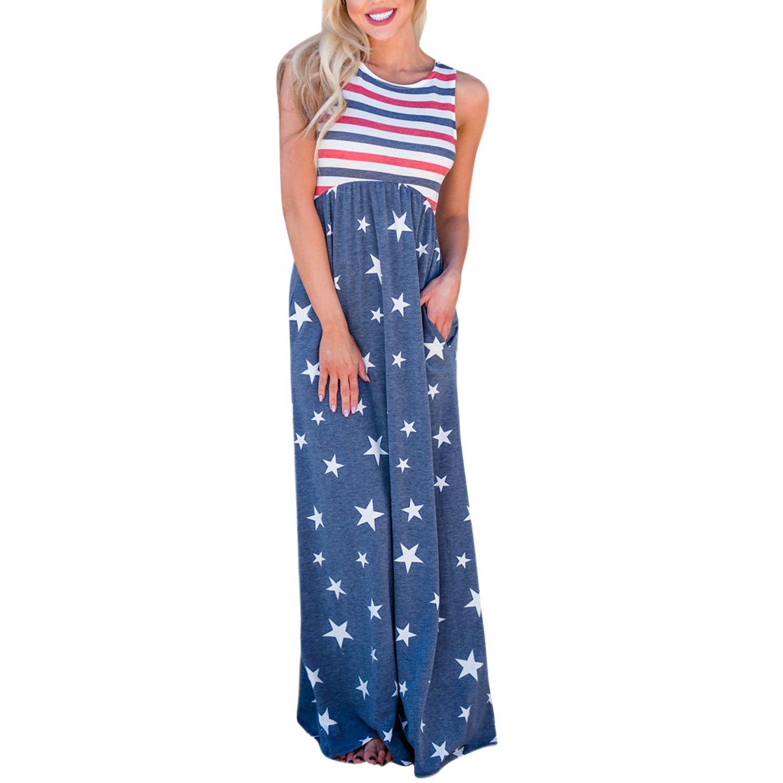 Lisli Womens Summer Maxi Dress American Flag Print Patriotic Striped Ruffle Tank Top