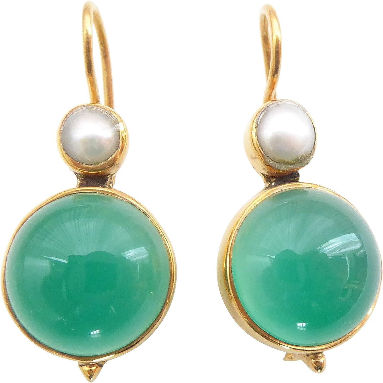 Pendientes de ágata de color verde y turquesa, grandes, colgantes, con cierre, de plata chapada en oro, pequeñas perlas de agua dulce, retro, únicos, hechos a mano, regalo de Italia