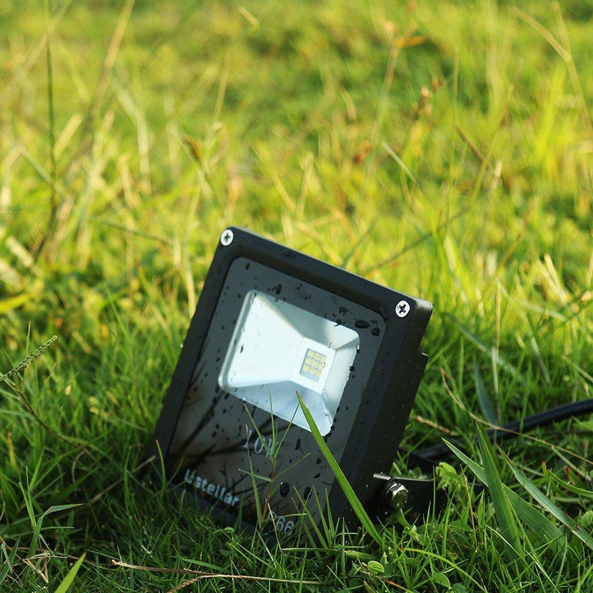 Ustellar 10W Outdoor LED Flood Lights, IP66 Waterproof, 760 Lumen Super Bright Floodlight, Equivalent 100W Halgen Bulb, 6000K Daylight White Security Lights