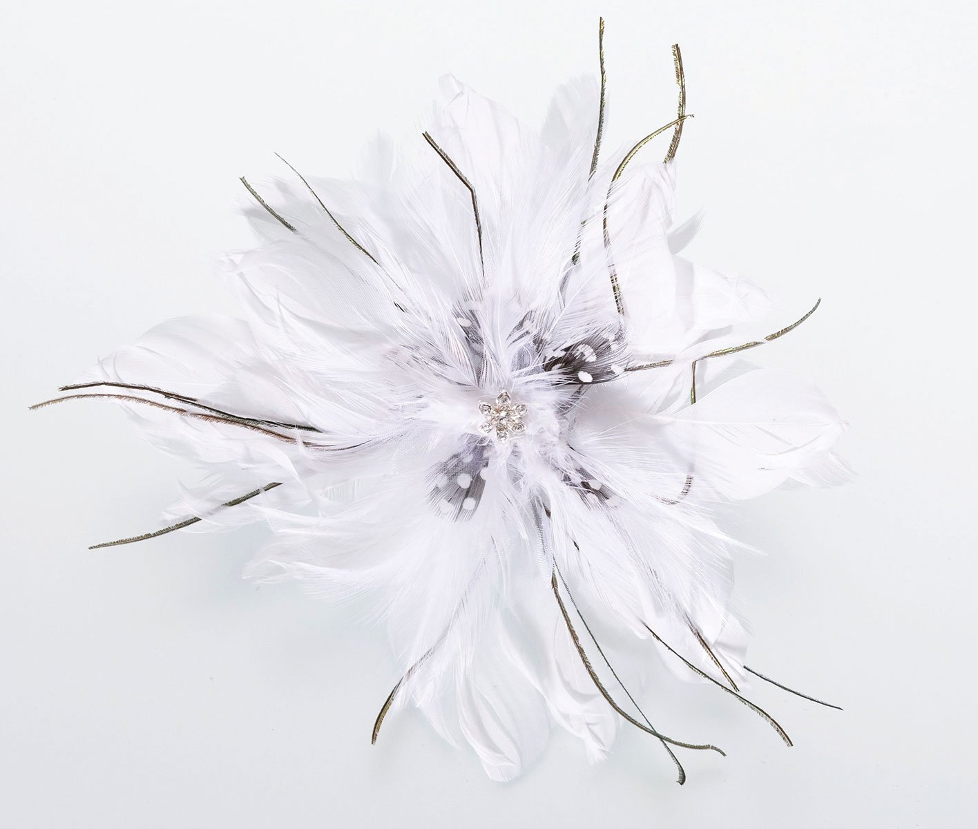 Lillian Rose White Feather Fascinator Hair Accessories Clip JL235 W