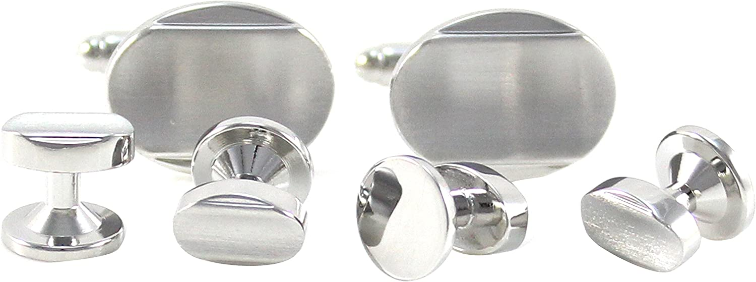 MENDEPOT Classic Brushed Silver Tone Curved Oval Formal Wear Shirt Cuff link And Studs Set With Box