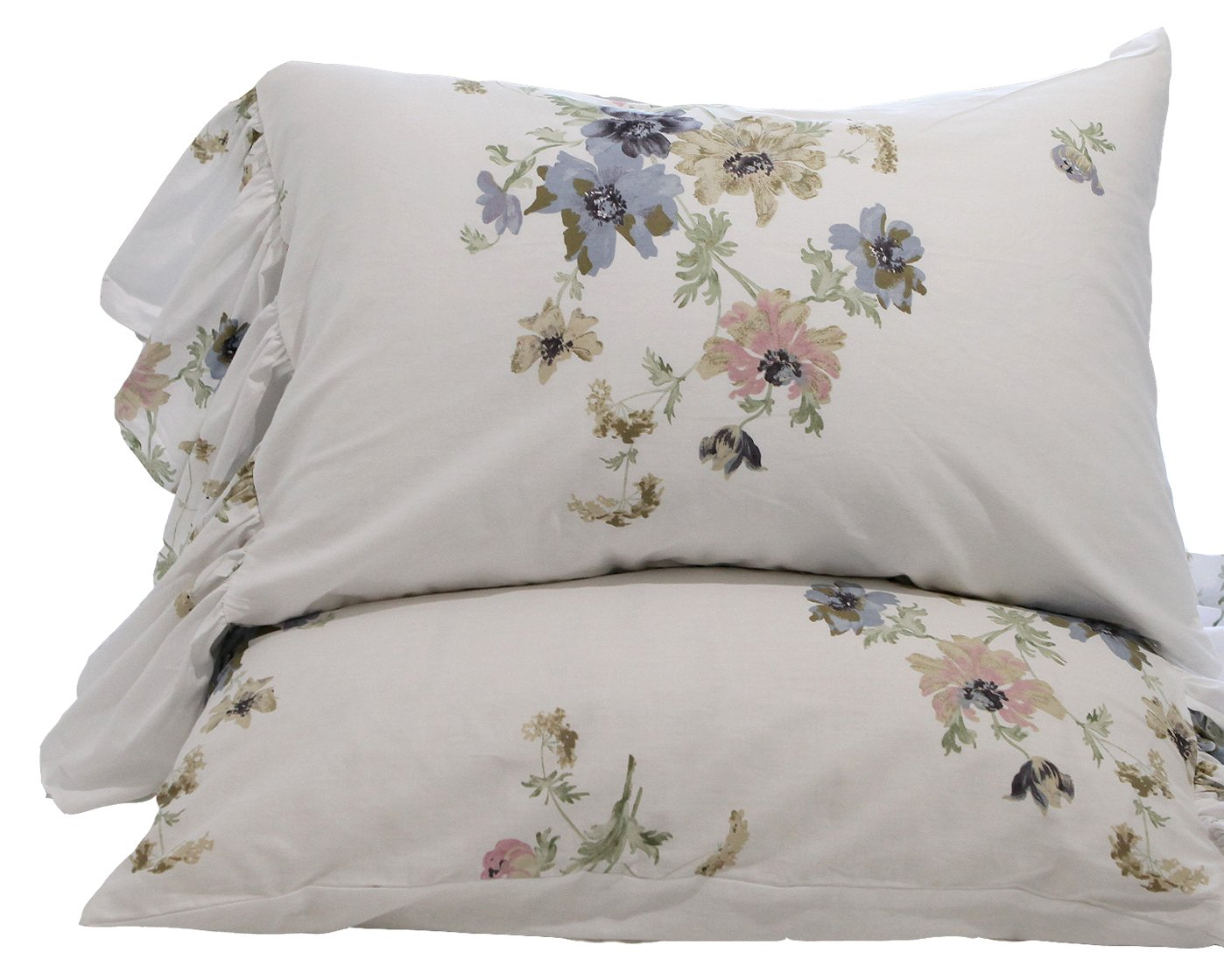 HOMIGOO Elegant Floral Printed Bedding Set Graceful Flower Printed Pure Cotton Fitted Sheet Tiwn Blue Flower