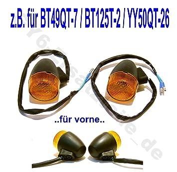 HYOSUNG PEUGEOT FLEX TECH ERING ADLY BENERO CHINA ROLLER GY6 BLINKER // BLINKLEUCHTEN VORNE // RECHTS /& LINKS z.B.passend f/ür BENZHOU YIYING YY50QT-26 YY125T-26 BAOTIAN BT49QT-7 BT125T-2 u.a FLEX TECH FUN 50