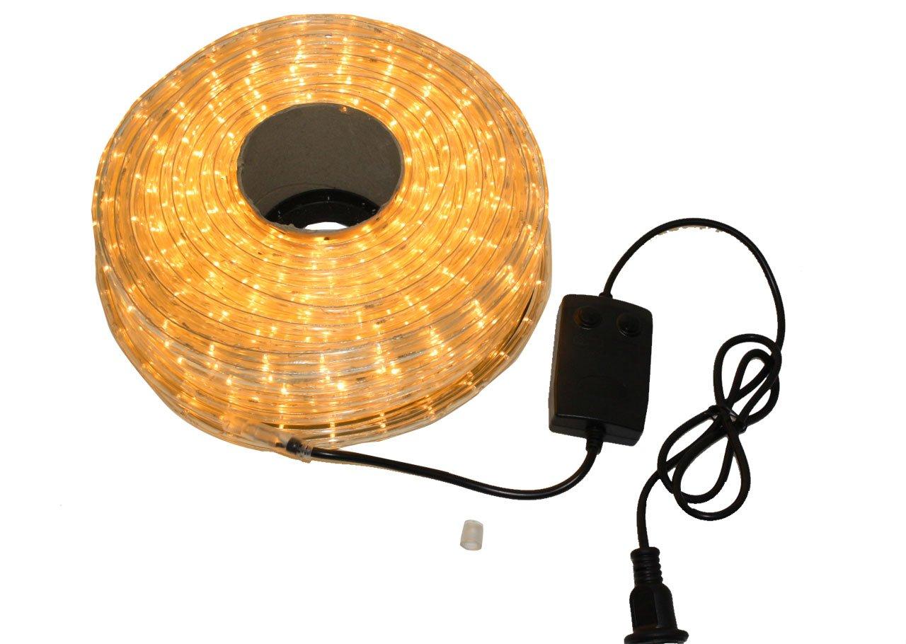 クリスマス イルミネーション 2芯 丸型 防水 ロープ ライト 1500 LED / 50m ゴールド 33種類 コントローラー セット B01LVZH2CH 13980