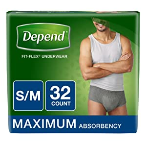 Depend FIT-Flex Incontinence Underwear for Men, Maximum Absorbency, S/M, Gray (Packaging May Vary)