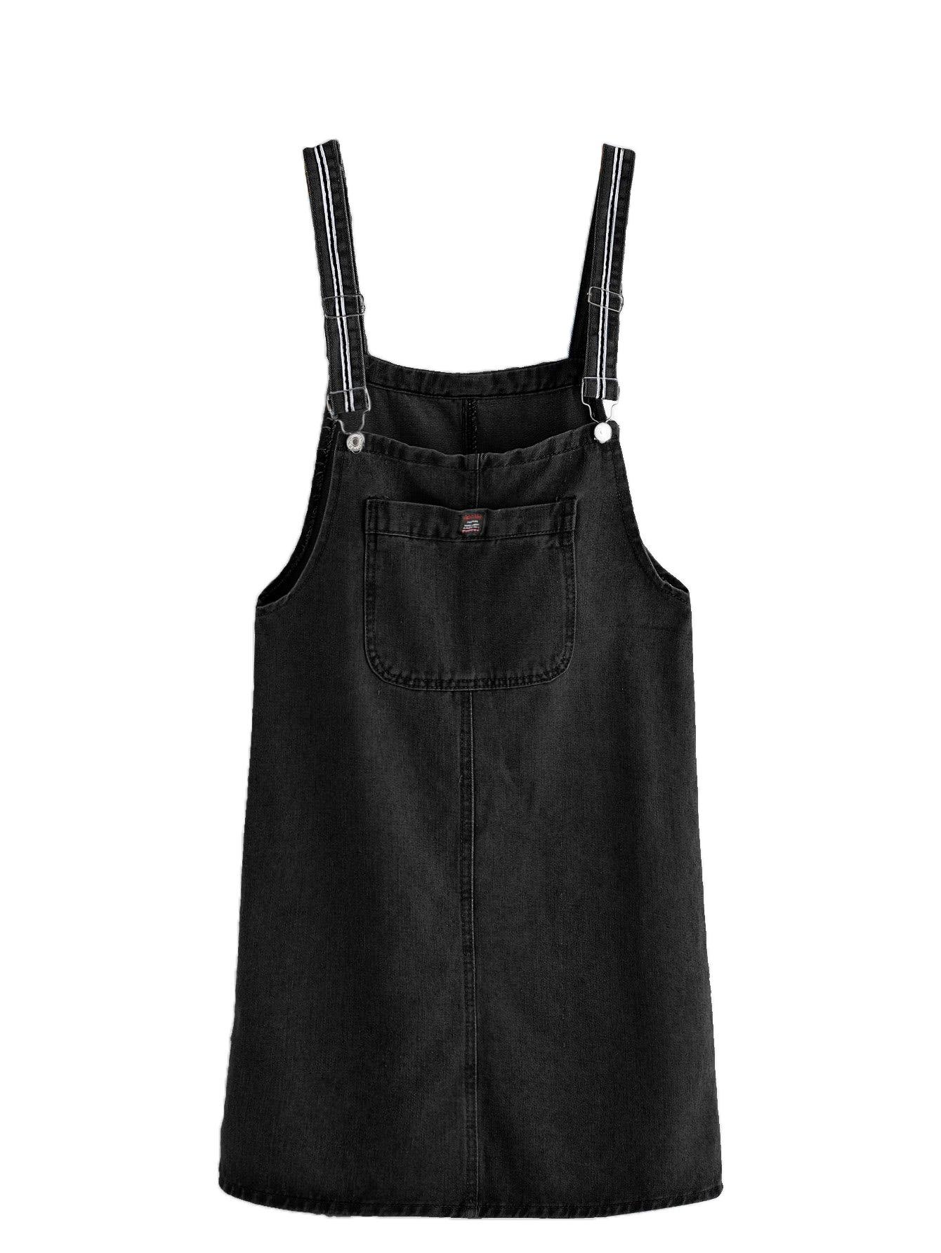 Verdusa Women's Classic Straps Denim Bib Sleeveless Ripped Pocket Dress Black- XL
