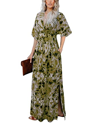 6dfe4731fe Women's Sexy Deep V Neck Tie Dye Backless Maxi Party Evening Dress Army  Green S