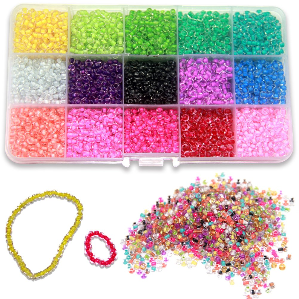 Bead String Making Set Fadeless Color Ewparts 3mm Mini Glass Beads for Children DIY Bracelet Art /& Jewellery-Making Color in beads