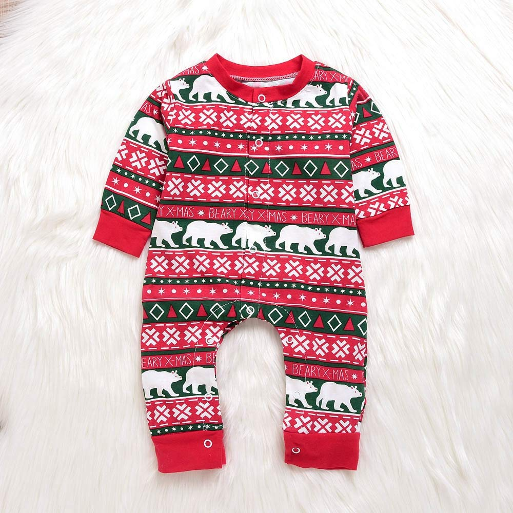 Treading - Infant Baby Boys Girls Christmas Santa XMAS Letter Plaid Romper Jumpsuit Outfits baby clothes winter clothes Costume Solid [ 24M Red2 ]