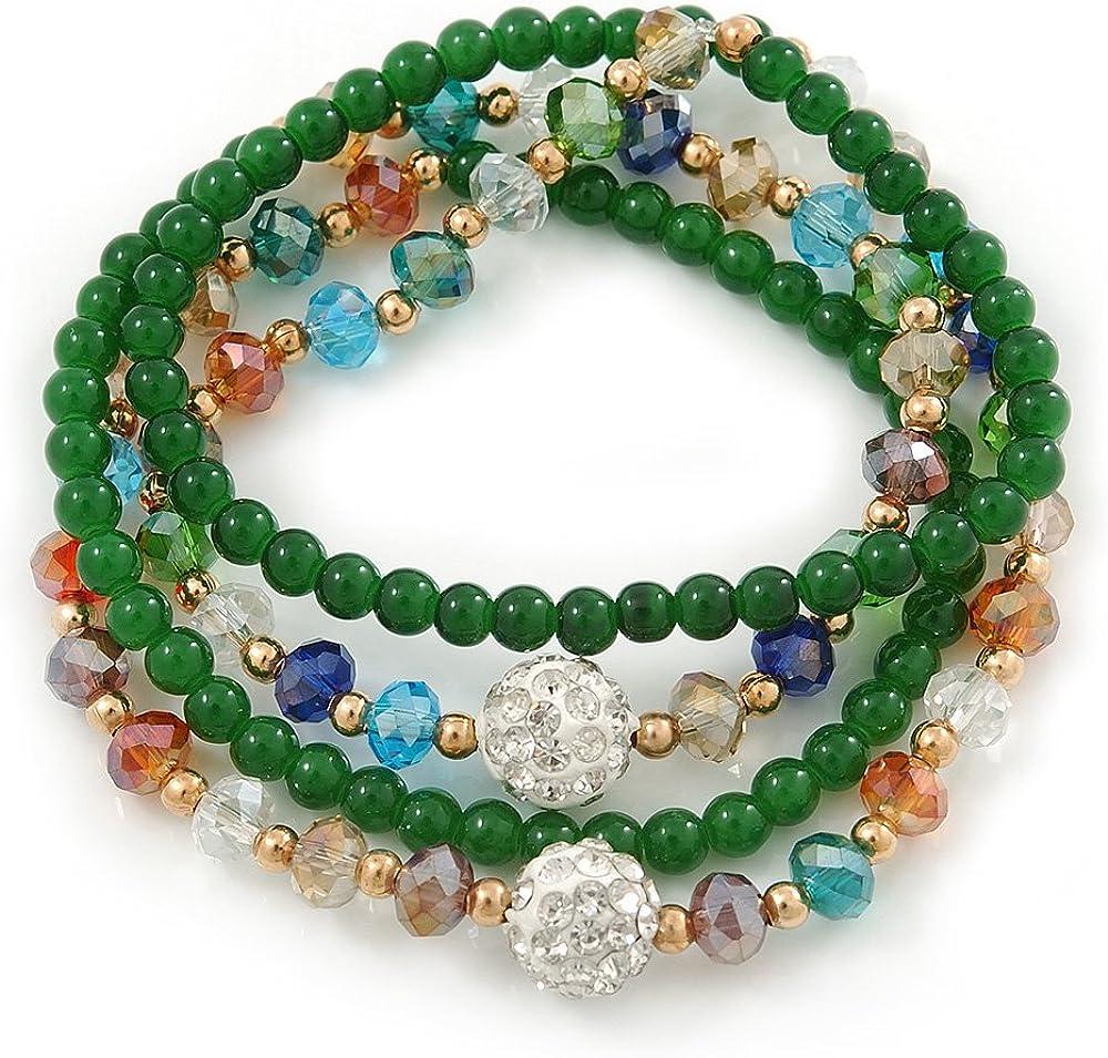 Verde de piedra de ágata, Aquiles brazalete de cuentas de cristal de colores/collar - 66 cm L