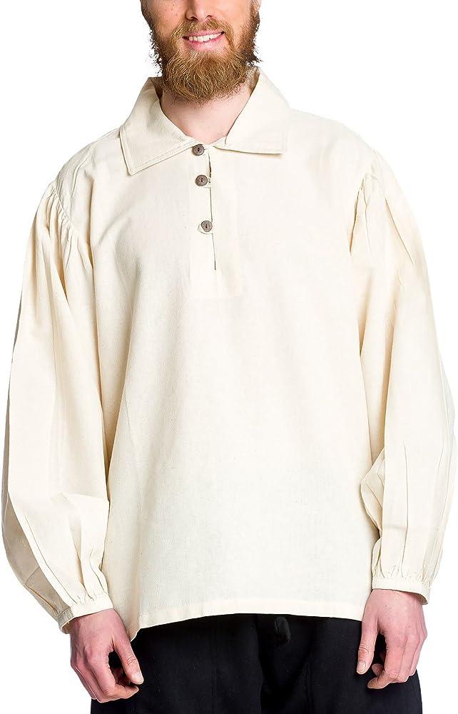 Camisa medieval de hombre con cuello color natural - XL: Amazon.es: Ropa y accesorios