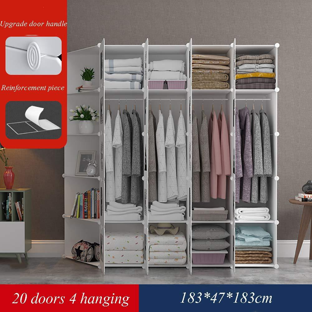 GJC Einfache Kleiderschrank DIY Magic Piece Kleiderschrank Schuhschrank Mode Einfache Schlafsaal Verstärkung Montage Kleiderschrank mit Schu,Ordinary,20doors
