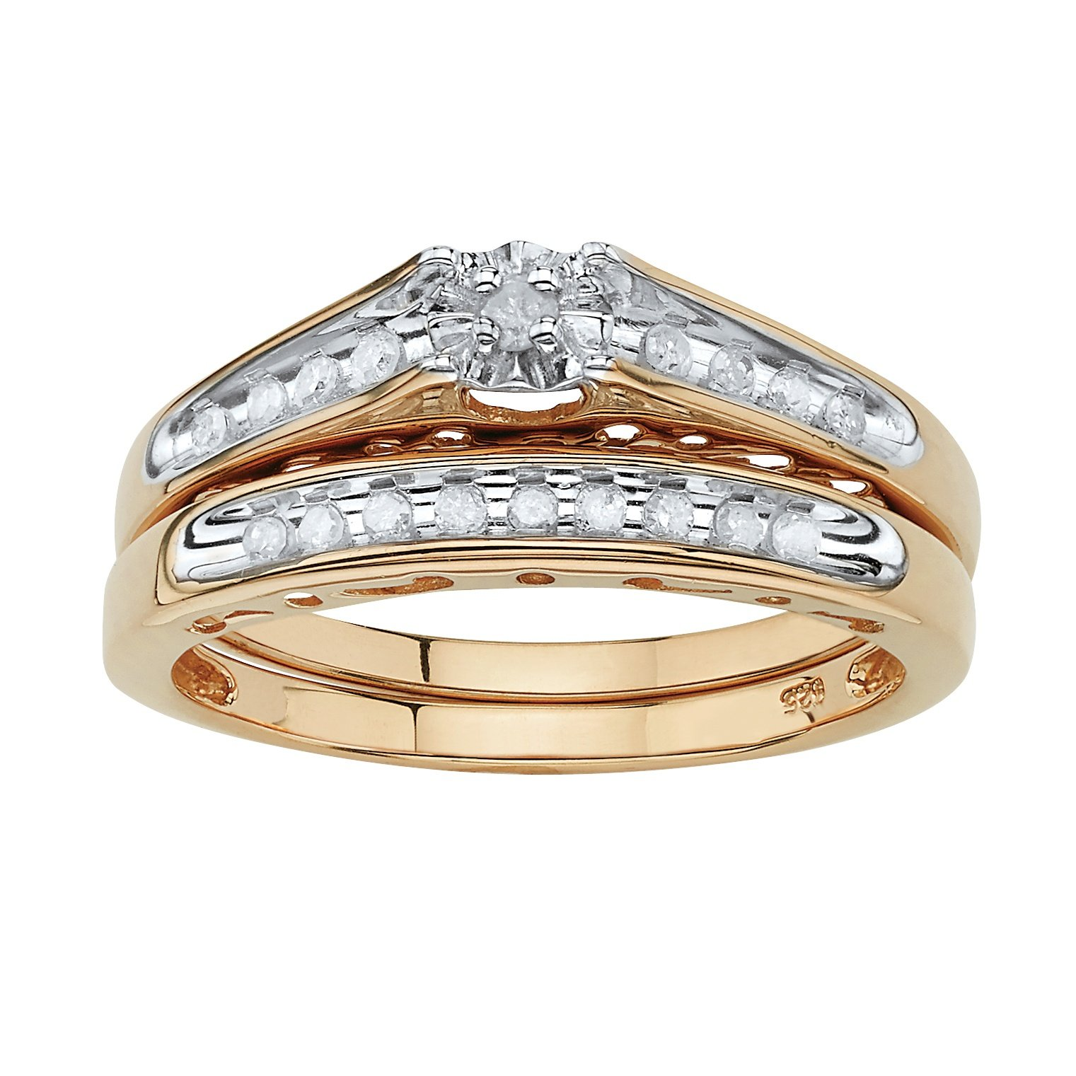 White Diamond 18k Gold over .925 Silver 2-Piece Channel Bridal Set (.20 cttw, GH Color, I3 Clarity) Size 9