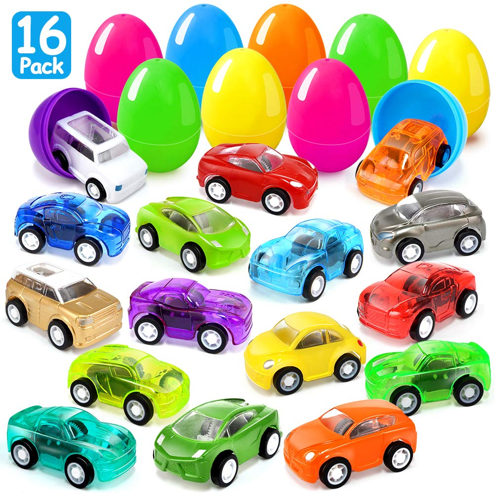 Joinart 16PCS Easter Eggs + 16PCS Pull Back Cars Toy Plastic Easter Egg Fillers Easter Basket Stuffers Mini Car Toys Surprise Eggs Easter Gifts Easter Party Favors for Kids Toddlers Goodie Bag Filler by Joinart (Image #1)