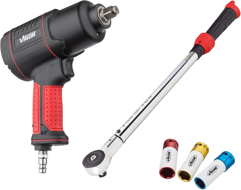 Vigor V5308 V5308-Juego de Cambio de neumáticos (Juego Compuesto por Atornillador de Aire comprimido, dinamométrica y Llaves de Vaso)
