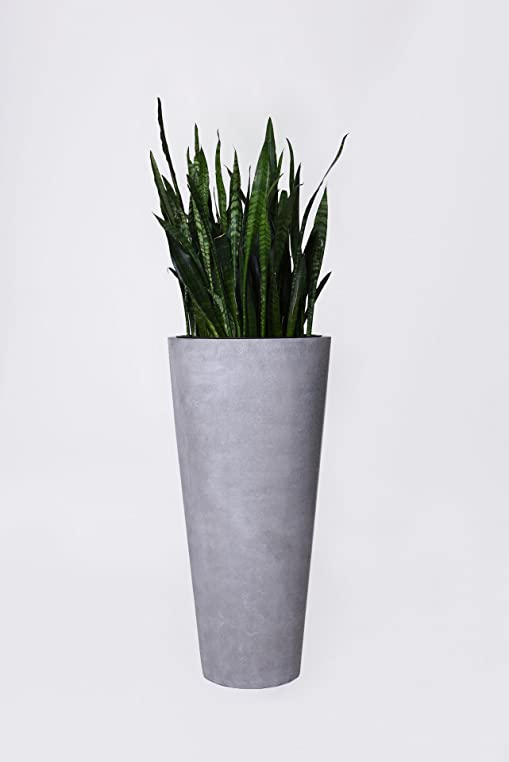 Pflanzkübel Blumenkübel Fiberglas Beton-Design grau \