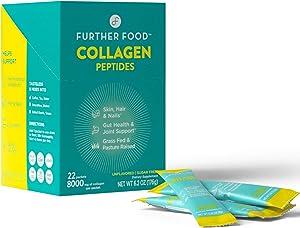 Further Food Collagen Peptides Stick Packs   Grass-Fed, Pasture-Raised, Non-GMO, Paleo, Keto   Premium Hydrolyzed Collagen (Box of 22)
