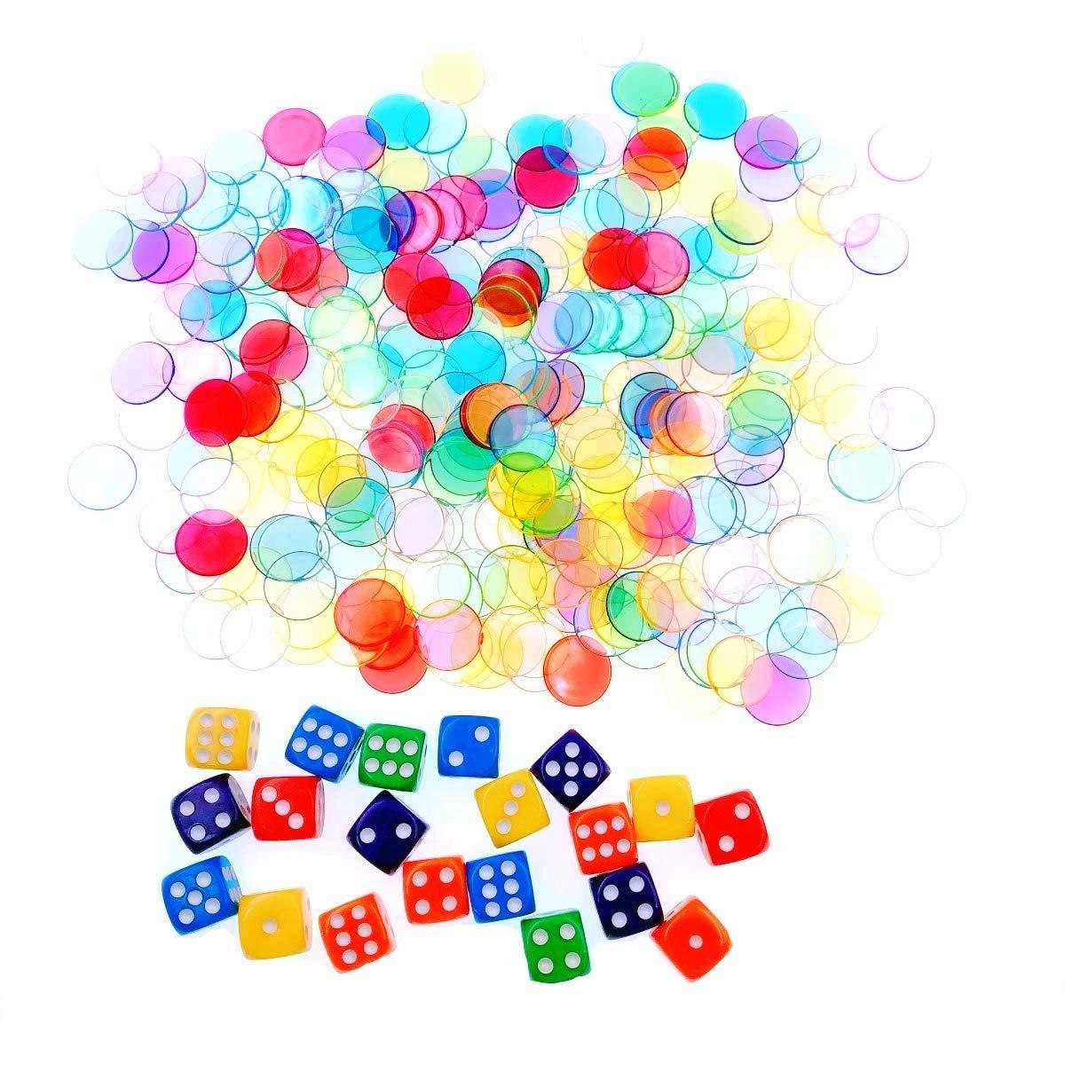 JZK 300x Multicolore Plastique Transparent Jetons de Jeu 19mm + 20x Spot Dice, Marqueurs de jetons de Bingo pour Jeu de Bingo