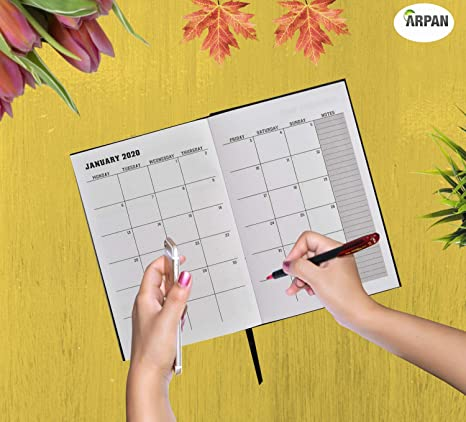 Amazon.com : 2020 Diary Week to View Hardback Cover & Ribbon ...