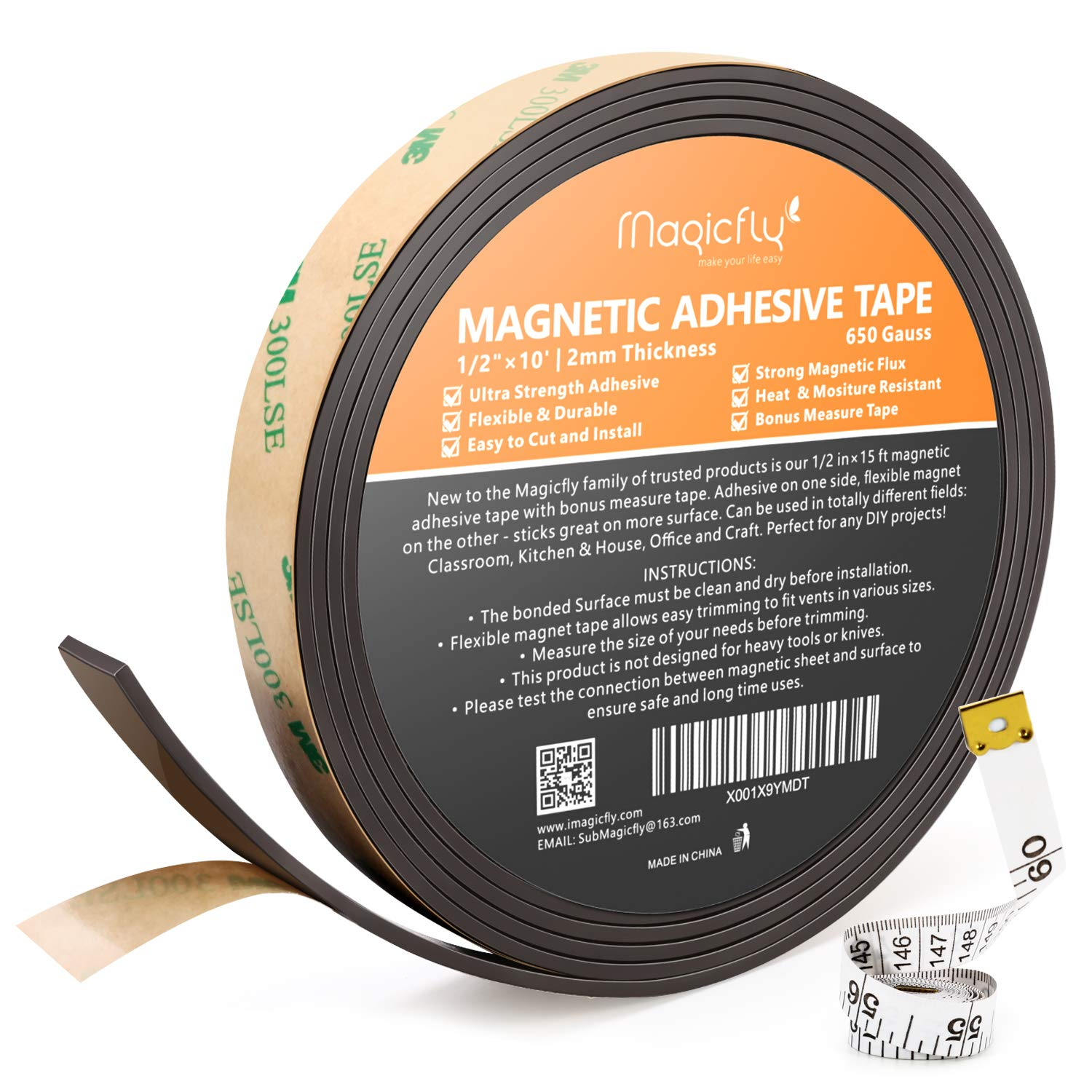 Magnetic Tape, Magicfly 1 Inch X 15 Feet Magnetic Strip with Strong Adhesive for Craft & DIY Projects, Sticky Magnetic Roll Perfect for Fridge