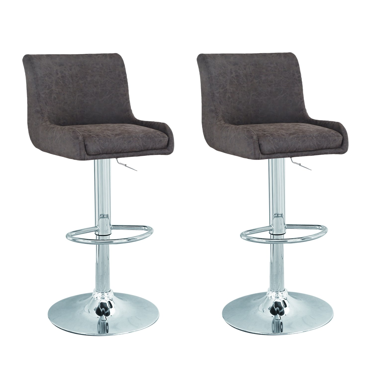 Adeco Cushioned Adjustable Swivel Counter Barstool Chair, dark brown by Adeco