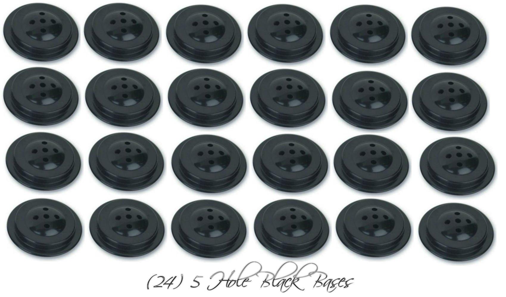 Wholesale Lot 24 Five Hole Black Bases For 4''x6'' Stick Desk Flags