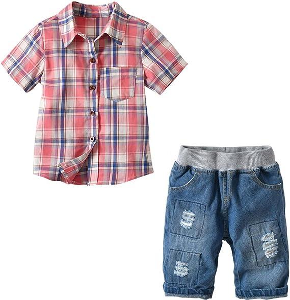 Milkiwai Little Baby Boys Shirt Plaid Short Sleeve Cotton Button Down