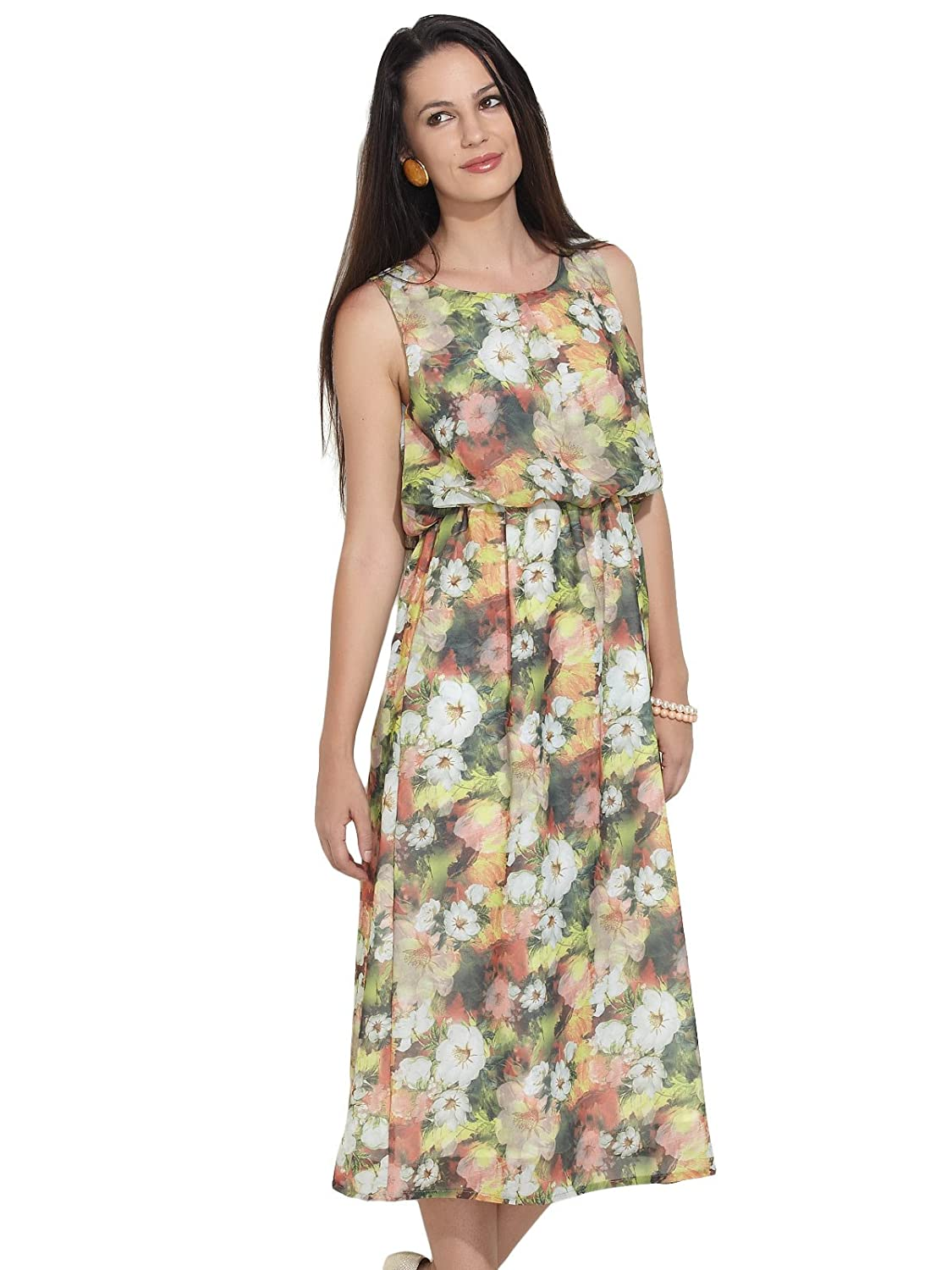 740dcaf17c Hotberries Ladies Round Neck Georgette DRESS 8901021048700  Amazon.in   Clothing   Accessories