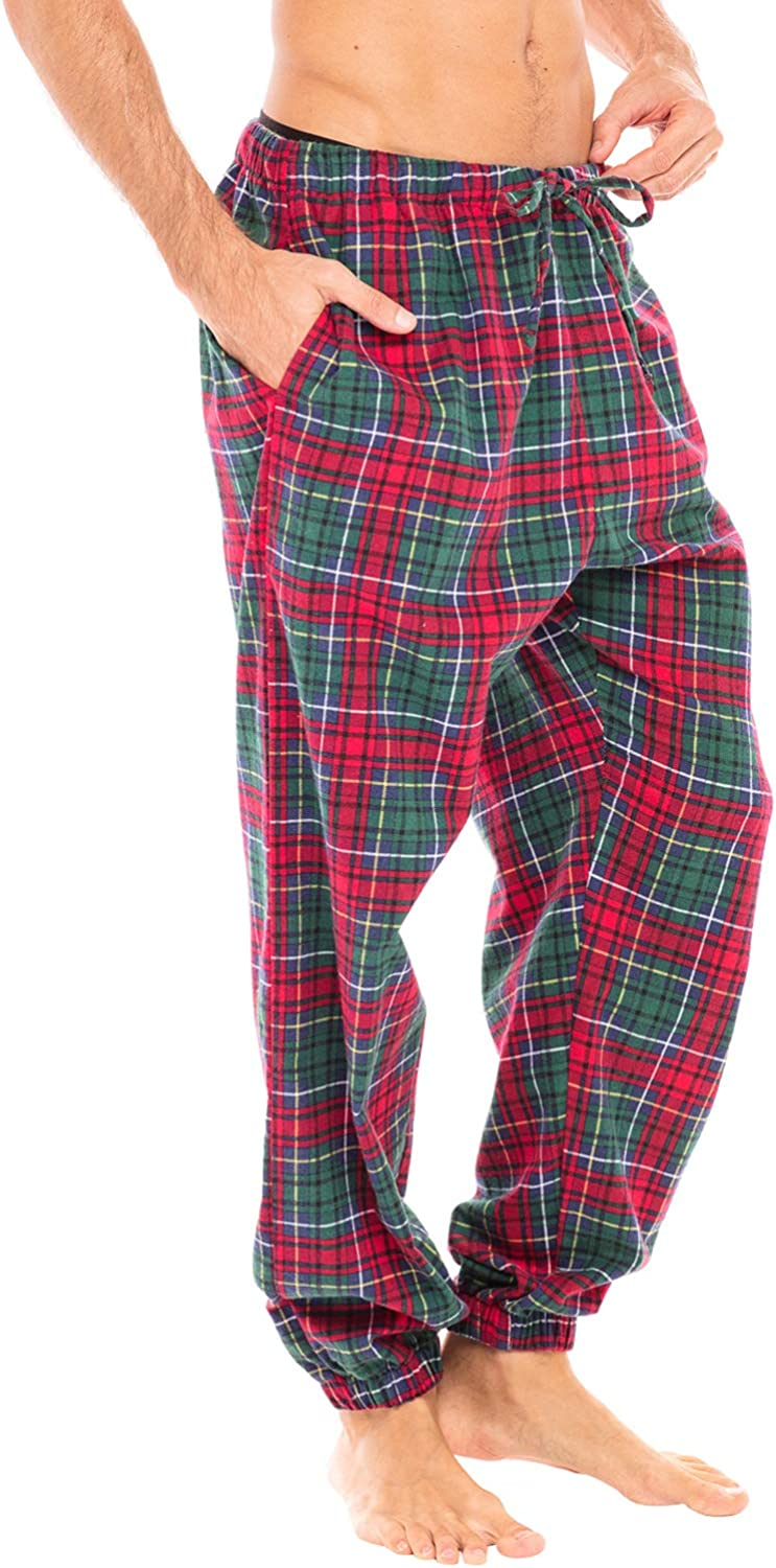 Long Plaid Cotton Pj Bottoms Alexander Del Rossa Mens Lightweight Flannel Pajama Pants