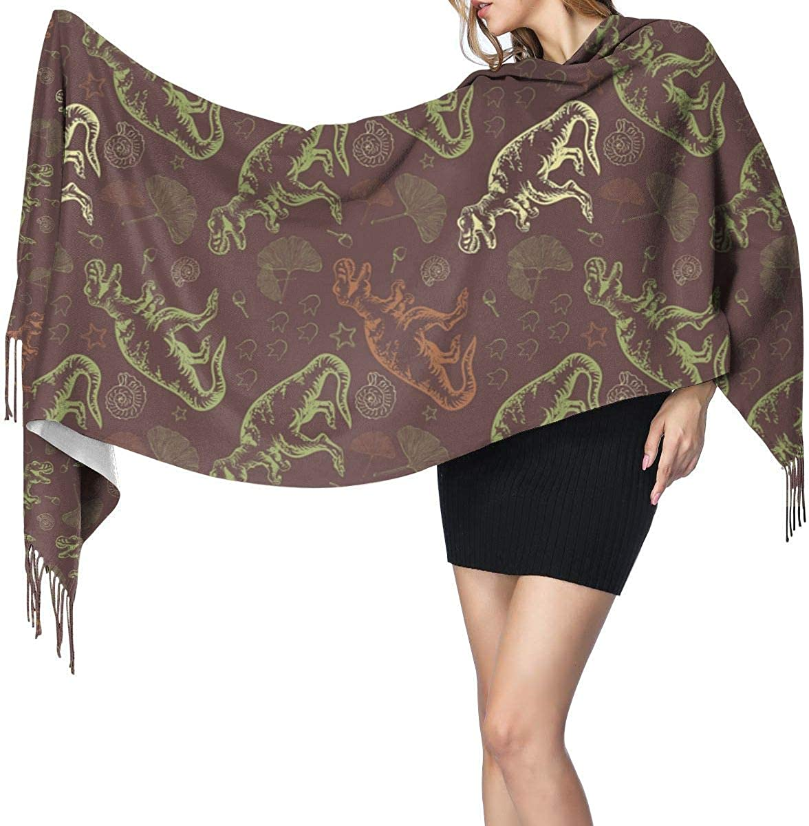 Dinosaur Ginkgo Leaf Cashmere Scarf Shawl Wraps Super Soft Warm Tassel Scarves For Women Office Worker Travel