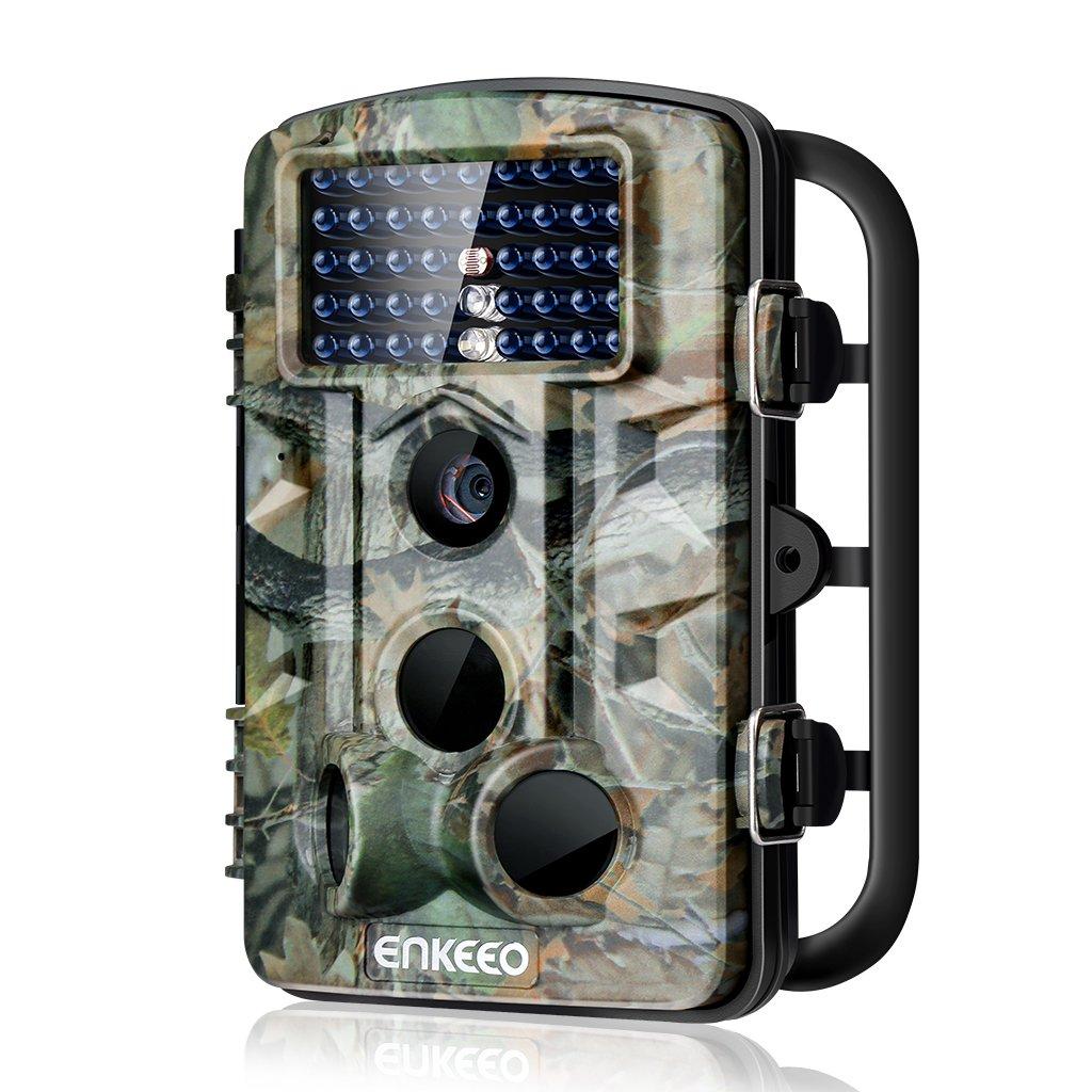 ENKEEO Wildkamera PH730, 12MP 1080P Full HD Wasserdichte Fotofalle 120°Breite Vision Infrarote 20m Nachtsicht 2.4 LCD Outdoor Überwachungskamera IP54 Kamera
