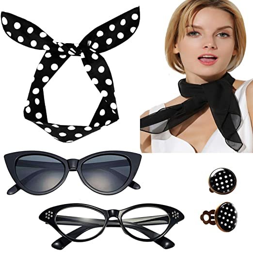 0ce83401e18 50 s Cat Eye Glasses Scarf Bow Headband Clip on Earrings Costume  Accessories Black