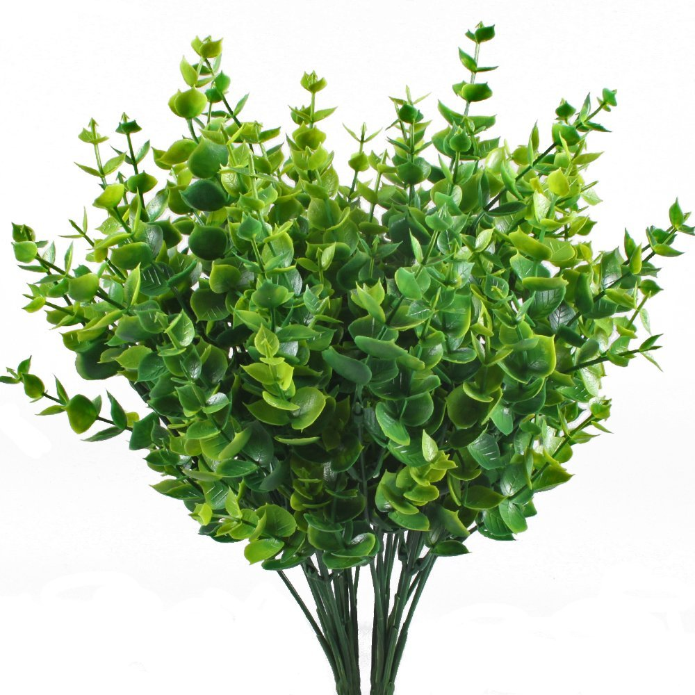 Artificial shrubs hogado 4pcs faux plastic eucalyptus for Artificial leaves for decoration