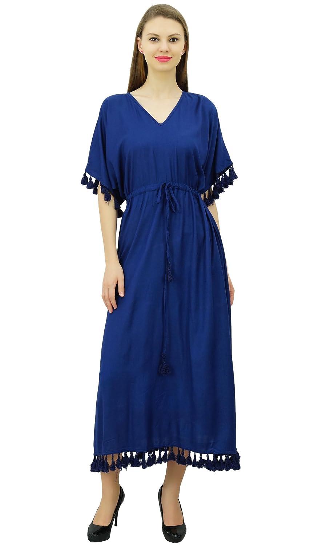 Bimba Damen Designer Tassel Kaftan Kleid Kurz Kimono Ärmel Lang Maxi  Coverup Kleid: Amazon.de: Bekleidung