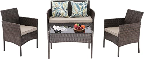 HTTH 4 Pieces Patio Porch Furniture Sets PE Rattan Wicker Chairs Washable Cushion