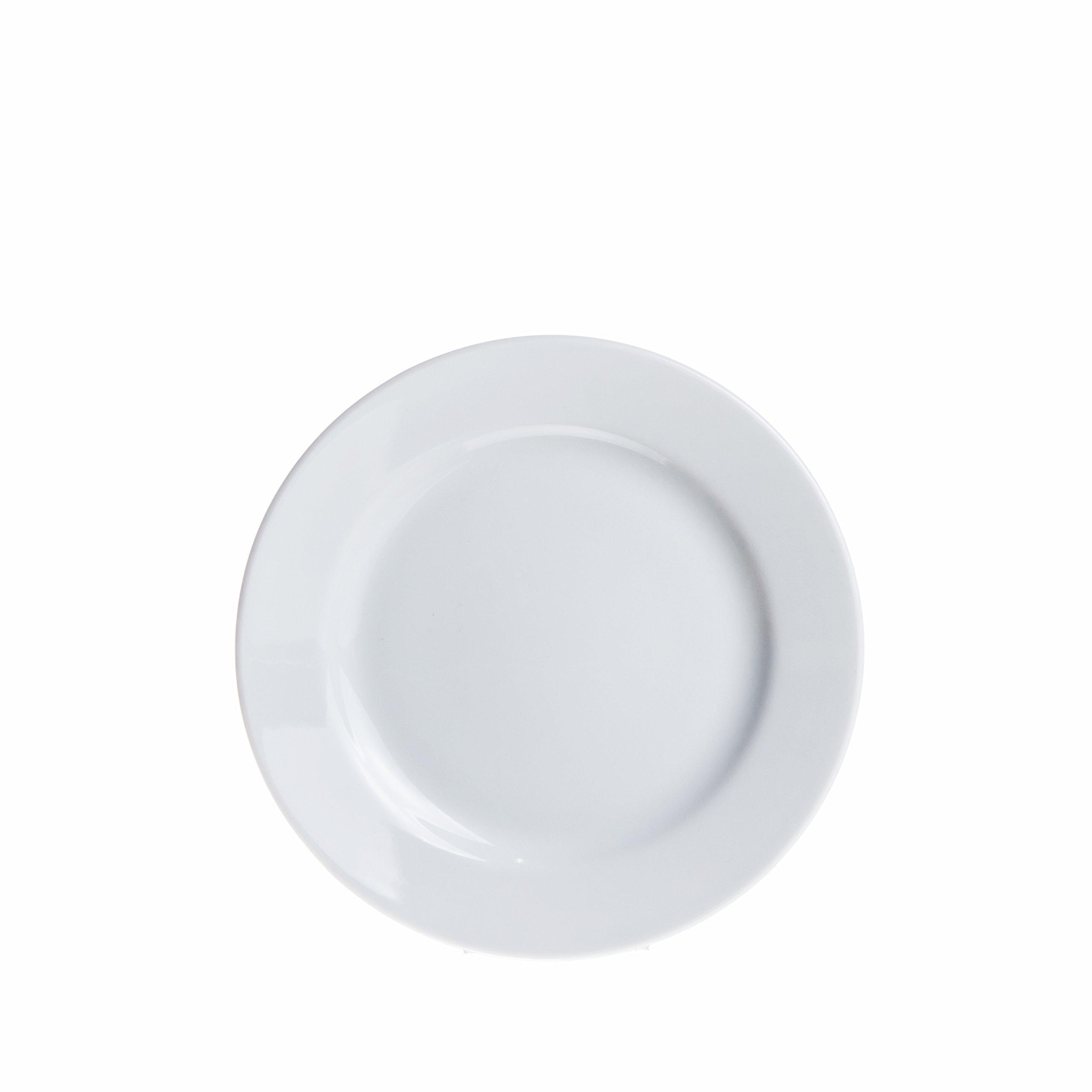 6-Piece Dinner/Soup/Dessert Plates Set, White Porcelain, Restaurant&Hotel Quality (6.6'' Dessert Plates)