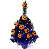 "Sunnyglade 21.6"" 30 LED Halloween Black Spooky Tree Glittered with Purple Lights & 12 Pumpkin Decorations,Battery…"